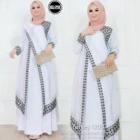 baju gamis muslim putih real pict baju wanita dress muslim-turkey 1209