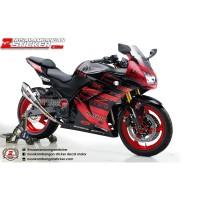 Decal Stiker Kawasaki Ninja 250 Karbu Oz Racing Merah