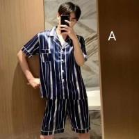 Piyama Pria Gael Men Pajamas Pendek Baju Tidur Cowo Set Satin Male