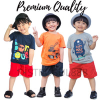 Baju Setelan Stelan Kaos Celana Anak Laki Laki Cowok 1 2 3 Tahun Murah