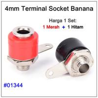 Socket Banana 1 Set Betina Female Terminal Soket Hitam dan Merah