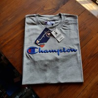Tshirt baju kaos champion abu misty logo bordir unisex pria wanita