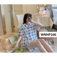 Baju Tidur Wanita Kancing Depan Celana Pendek Doraemon Blue