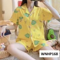 Baju Tidur Wanita Kancing Depan Celana Pendek Yellow