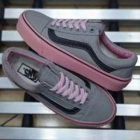 Sepatu Wanita Vans Oldskool Grey Pink Black Import