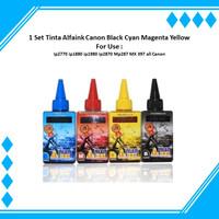 1 Set Tinta Alfaink 100ml Canon Black Cyan Magenta Yellow