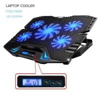 ICE FAN Cooling Pad Laptop 5 Kipas Hitam Biru
