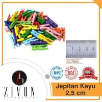 Jepitan KAYU POLOS / WARNA 2.5cm Foto Baju / Mini Wooden Clip 2,5cm