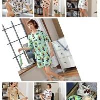 baju tidur stelan hotpant wanit import (free pouch serut)