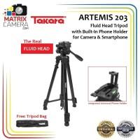 TAKARA ARTEMIS 203 Tripod Fluid Head with Built In Phone Holder HP