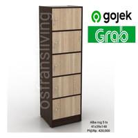 Terlaris Lemari Pakaian Alba RSG KHUSUS GOJEK / GRAB - RSG4 Oak White