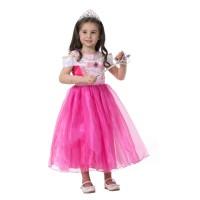 Baju Gaun Dress Pesta Ulang Tahun Anak Princess Aurora Pink Import