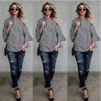[zensasi] Baju Blouse Atasan Wanita Motif Petak Warna Hitam Putih