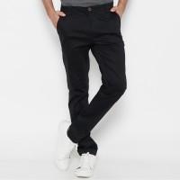 M231 Celana Panjang Pria Chinos Slim Fit Stretch Warna Black C1091