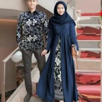Baju Couple Batik Modern Baju Copel Sarwendah Navy Terbaru