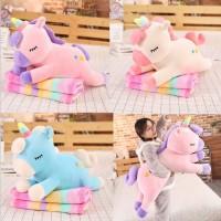 Boneka Bantal Selimut Kuda Pony Unicorn Selimut Pelangi Pillow Balmut