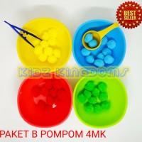 Mainan Edukasi Montessori Sensory Toys Paket Pompom pom pom + Mangkuk