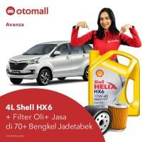 Oli Avanza Shell HX6 10w40 + Filter Oli + Jasa Pasang