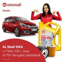 Oli Mobilio Shell HX6 10w40 + Filter Oli + Jasa Pasang