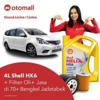 Oli Grand Livina Shell HX6 10w40 + Filter Oli + Jasa Pasang