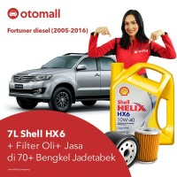 Oli Fortuner diesel Shell HX6 10w40 + Filter Oli + Jasa Pasang