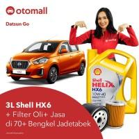 Oli Datsun Go Shell HX6 10w40 + Filter Oli + Jasa Pasang