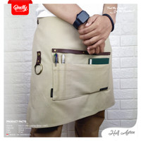 Apron canvas and syntetic leather celemek barista chef ( Half )