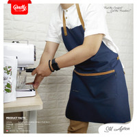 Apron canvas and syntetic leather celemek barista chef ( Full Std )