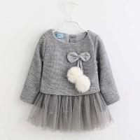 Baju Dress Gaun Pesta Anak Bayi Perempuan Import Tule Tutu Rajut Bulu