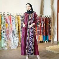 setelan wanita celana kulot tunik dress ethnic tenun blanket AT001