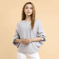 blouse size besar wanita lasperal grey jumbo blouse rajut berkualitas