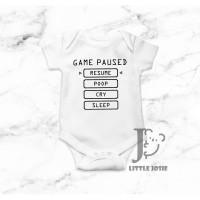 Jumper Bayi Game Paused Lucu Kaos Baby Gamers Romper - Little Josie