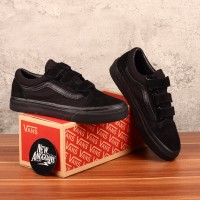 Sepatu Vans Old Skool Velcro Prepet Full All Black Hitam Polos Import
