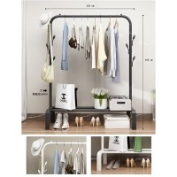 Stand hanger single portable Rak besi Gantungan baju topi sprei singel