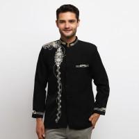 Baju Lengan Panjang Jasko Jas Koko Hitam Seragam Haji Umroh JKH 123 - Hitam, XL