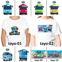 [ FREE NAMA ] Baju Kaos custom ANAK DAN DEWASA hey tayo bus kecil rama