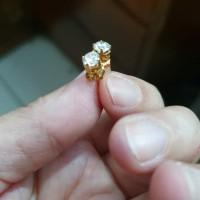 Anting tusuk giwang desi mata putih emas asli 70% 700 1gr 1 gram 1g