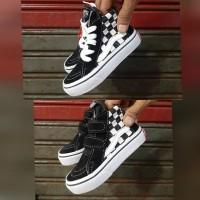 Sepatu anak Vans sk8 oldskool catur Black white / Tali / perekat