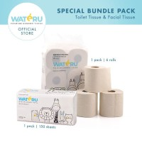 Wateru Premium Bamboo Tissue - 1pack Toilet Roll 6s+1Pack Facial 150s