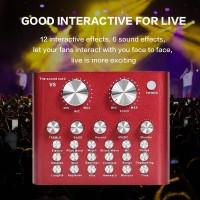 V8 Pro SoundCard Audio Mixer untuk Live Broadcast