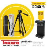 Tripod TAKARA ECO-196A Lightweight With Pouch/Tas/Bag