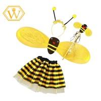 4Pcs/Set Kostum Lebah Bando+Sayap+Tongkat+Rok Tutu untuk Anak