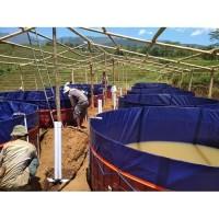 Kolam terpal bulat bioflok - bahan Korea diameter D 5m X T 1,2m