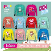 Baju Kaos Anak Perempuan, Premium Quality, Lengan Panjang, Size 2-10T