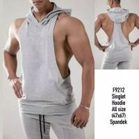 ( SH LOWCUT ABU ) Kaos gym fitnes / singlet hoodie training fitness