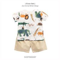 T-Shirt Set Lucu Pakaian Style Bayi Baju Celana Rumah Baby Boy ENZO - Putih, 0-6m
