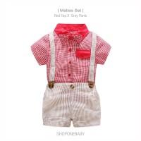 Set Pakaian Hem Dasi Pesta Bayi Anak Cowok Baju Baby Boy Bow MATIAS - 70