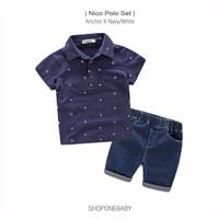 Set Kids Polo Jangkar Ball Style Anak Baju Celana Jeans Rumah Boy NICO