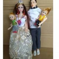 Paket Mainan Boneka Barbie Keluarga Ibu Ayah dan 2 Anak Cewek