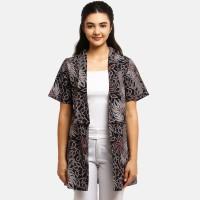 Anakara Luaran Batik Wanita - Short Sleeve Outer Karzena Red - Black - Hitam, L